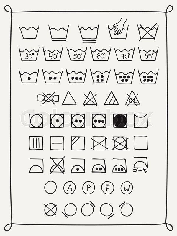 Doodle Laundry Symbols Hand Drawn Scribble Washing Icons Clothing