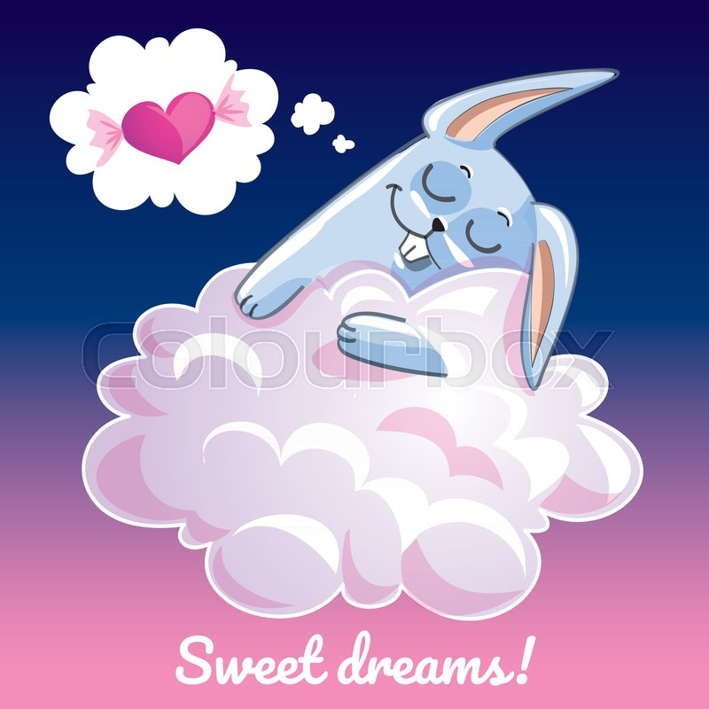A lovely greeting card with a hand drawn bunny rabbit sleeping on a lovely greeting card with a hand drawn bunny rabbit sleeping on the cloud and an example text message sweet dreams vector illustration stock vector m4hsunfo