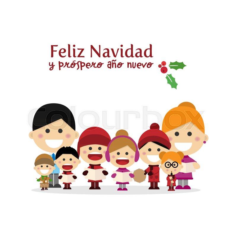 cute family singing carols at christmas night spanish title vector illustration stock vector colourbox