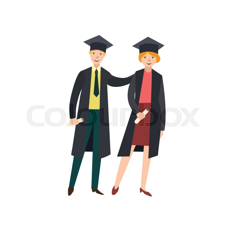 Vector flat cartoon male college, university happy graduate ...