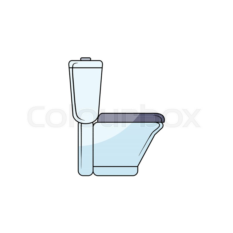 Vector Sketch Style Ceramic White Blue Colored Toilet Bowl Side