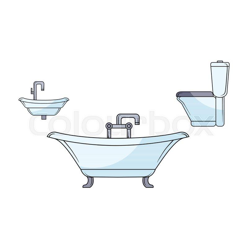 Vector sketch bathroom appliances set. ceramic white blue colored ...