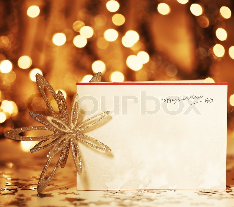 beautiful gold happy christmas cardwinter holiday background decoration postcard with snowflakes abstract over defocus lights stock photo colourbox