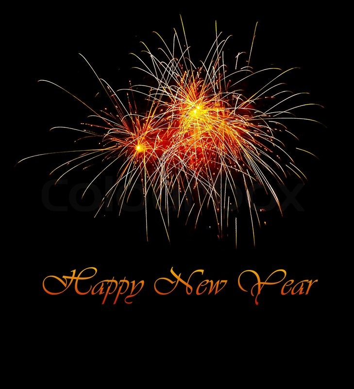 black holiday background with fireworks happy new year text