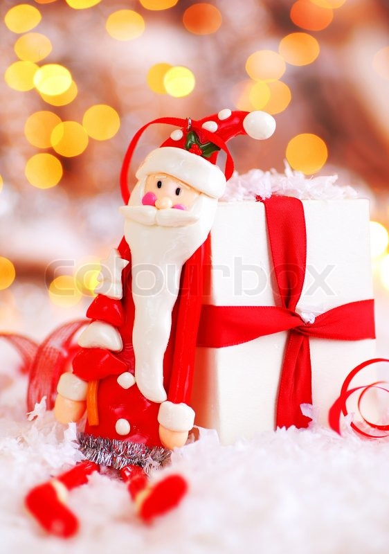 Holiday Background With Cute Santa Claus Christmas Tree