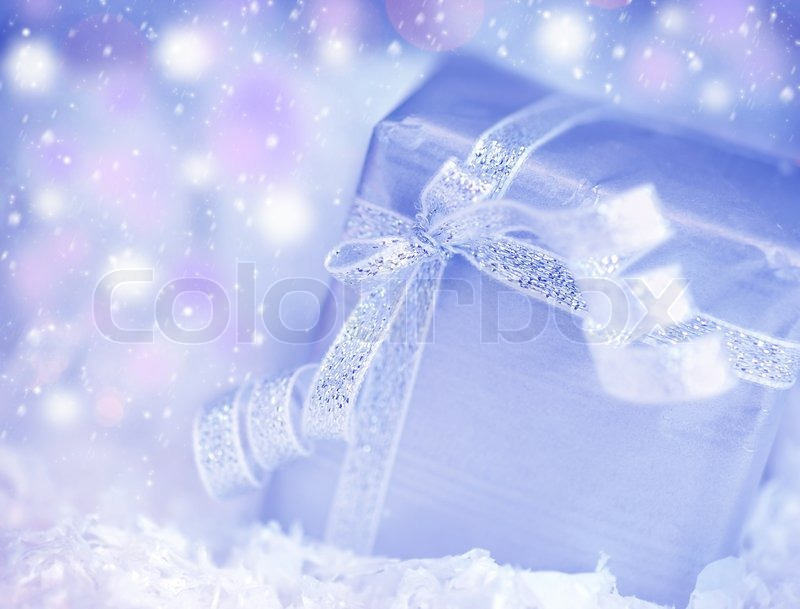 Christmas Holiday Background Photograph By Anna Om: Winter Holiday Background With Blue Present Gift Box