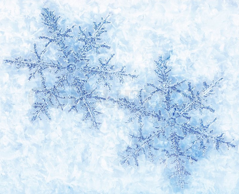 Christmas Holiday Background Photograph By Anna Om: Beautiful Blue Snowflakes Isolated On Snow, Winter Holiday