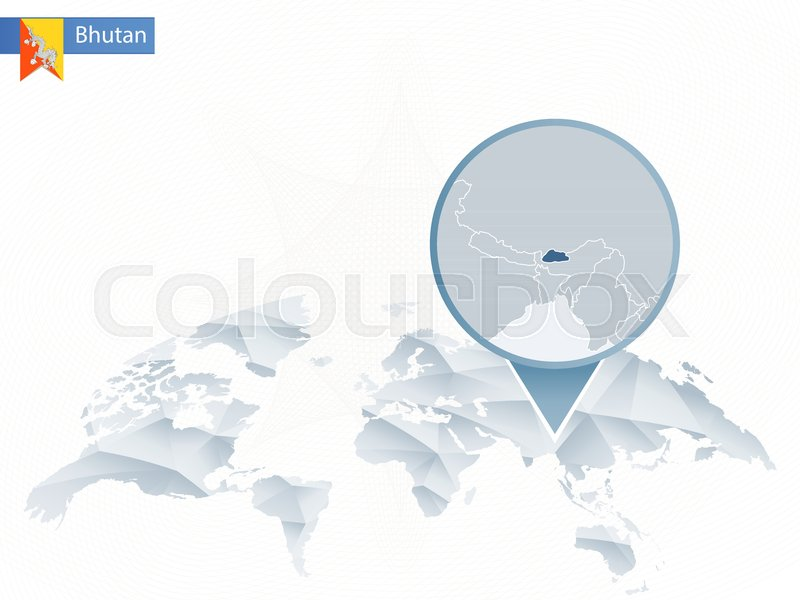 World Map Bhutan.Abstract Rounded World Map With Pinned Detailed Bhutan Map Vector