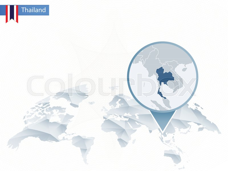 Abstract rounded World Map with pinned detailed Thailand map. Vector ...