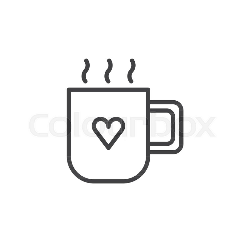 Mug With Hot Drink And Heart Line Icon Outline Vector Sign Linear Style Pictogram Isolated On White Love Valentines Day Symbol Logo Illustration