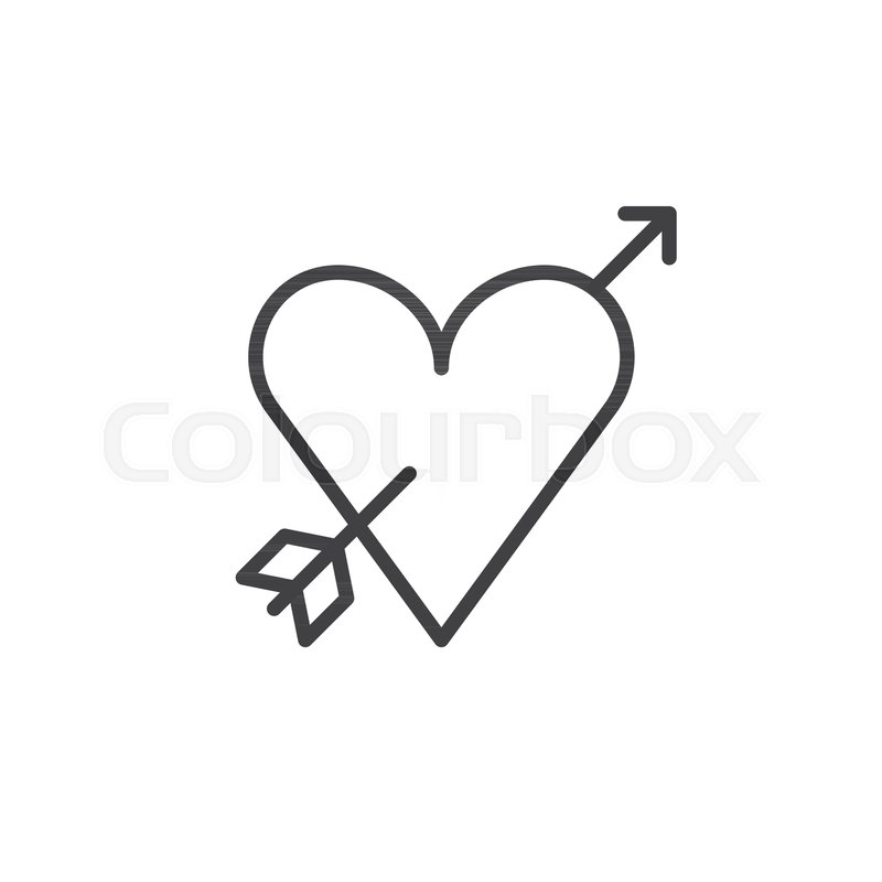 Cupid Arrow With Heart Line Icon Outline Vector Sign Linear Style