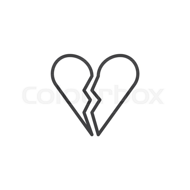 Broken Heart Line Icon Outline Vector Sign Linear Style Pictogram