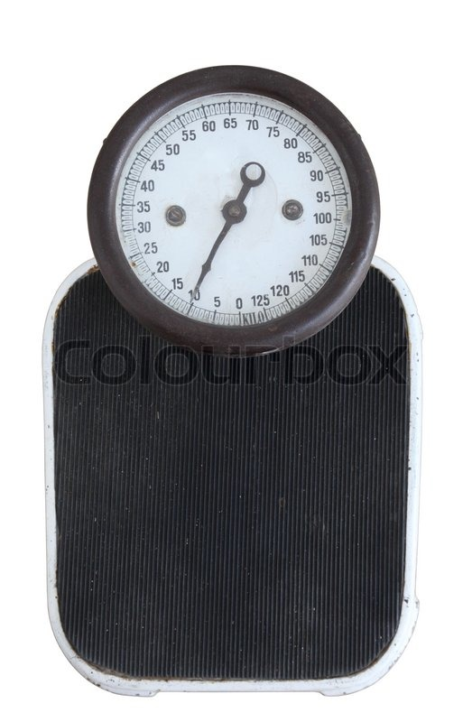 Vintage bathroom scales isolated over white background for Big w bathroom scales