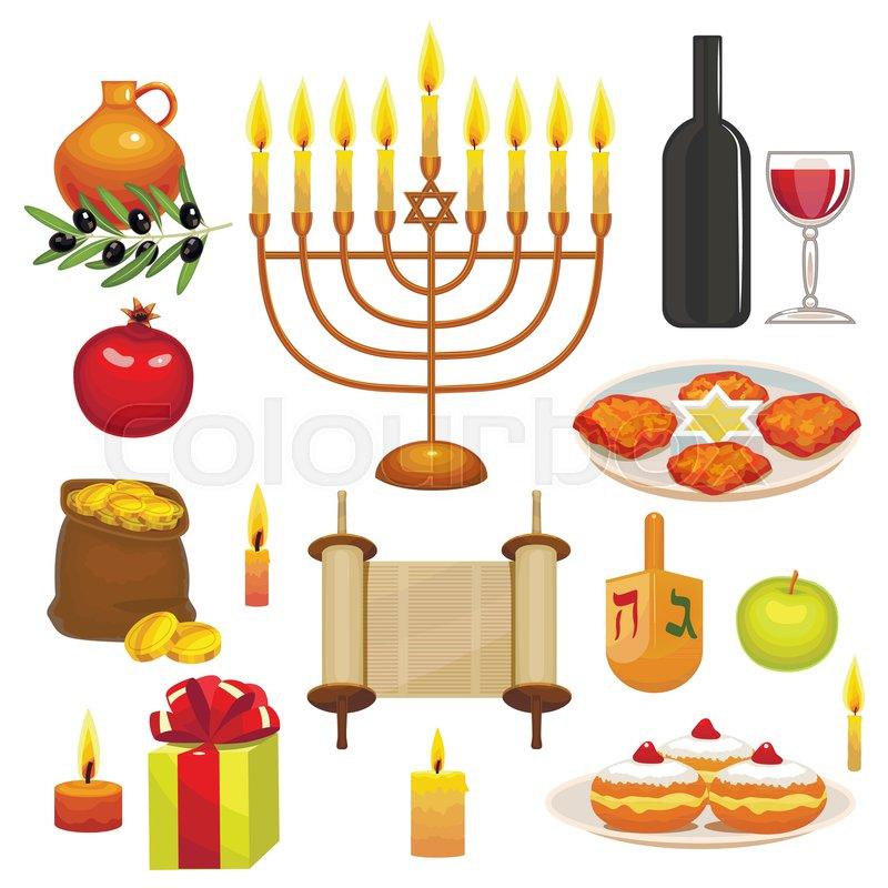 Set Of Hanukkah Celebration Elements Colorful Objects In Cartoon