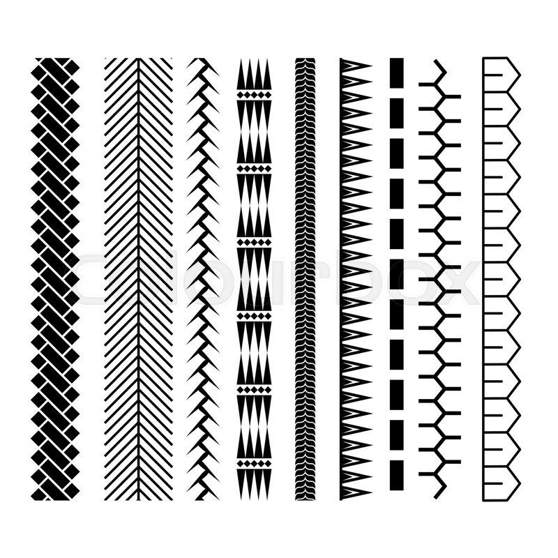 Polynesian Tattoo Style Brush Vector Design Black Border Seamless Line Brushstroke Template