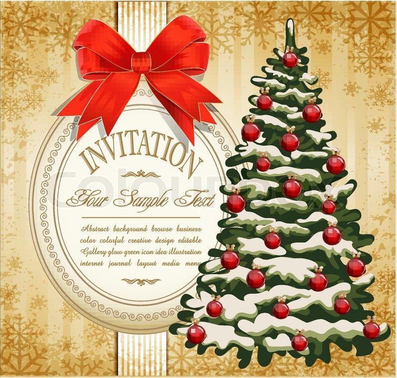 Vector festive invitation to the christmas tree and red bow stock vector festive invitation to the christmas tree and red bow stock vector colourbox stopboris Images