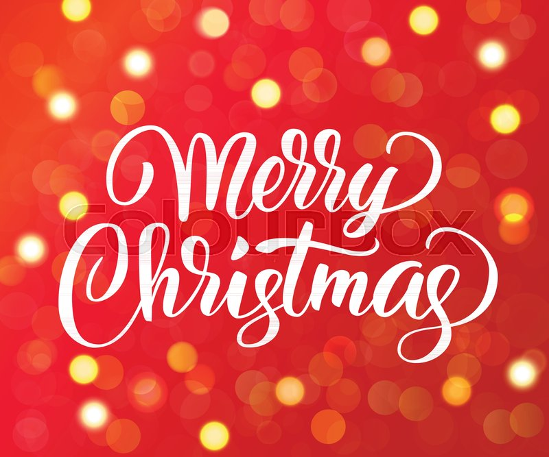 Merry christmas text hand drawn lettering golden sparkling glowing merry christmas text hand drawn lettering golden sparkling glowing lights red background with bokeh effect holiday greetings quote m4hsunfo