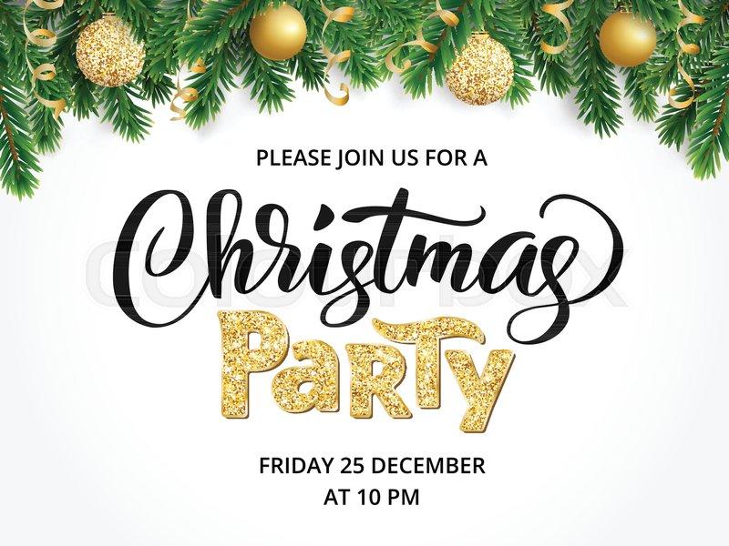 Christmas Party Poster.Christmas Party Poster Template Hand Stock Vector