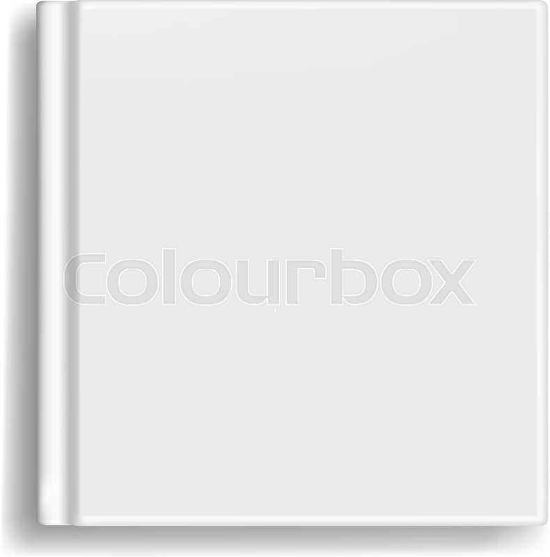 Square vector blank realistic book, closed organizer or photobook ...