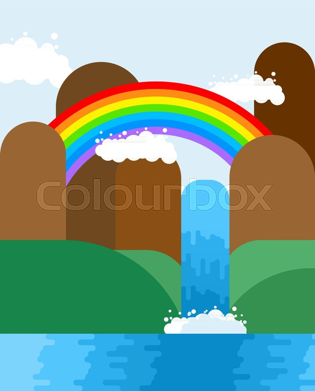 Waterfall and rainbow landscape. Nature background. Mountains and meadows. Natural Pure Water. Rivers and Water falls. Vector illustration , vector