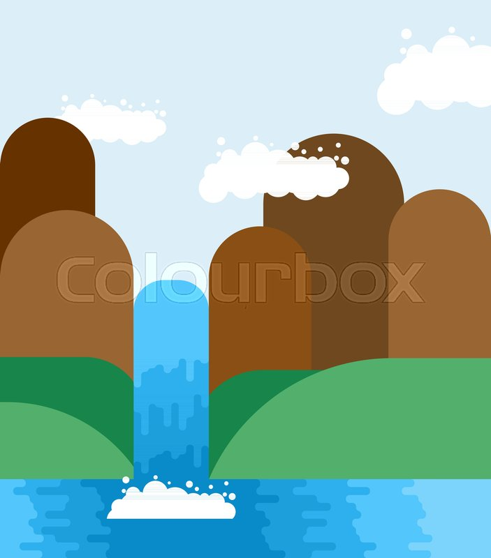 Waterfall landscape. Nature background. Mountains and meadows. Natural Pure Water. Rivers and Water falls. Vector illustration, vector