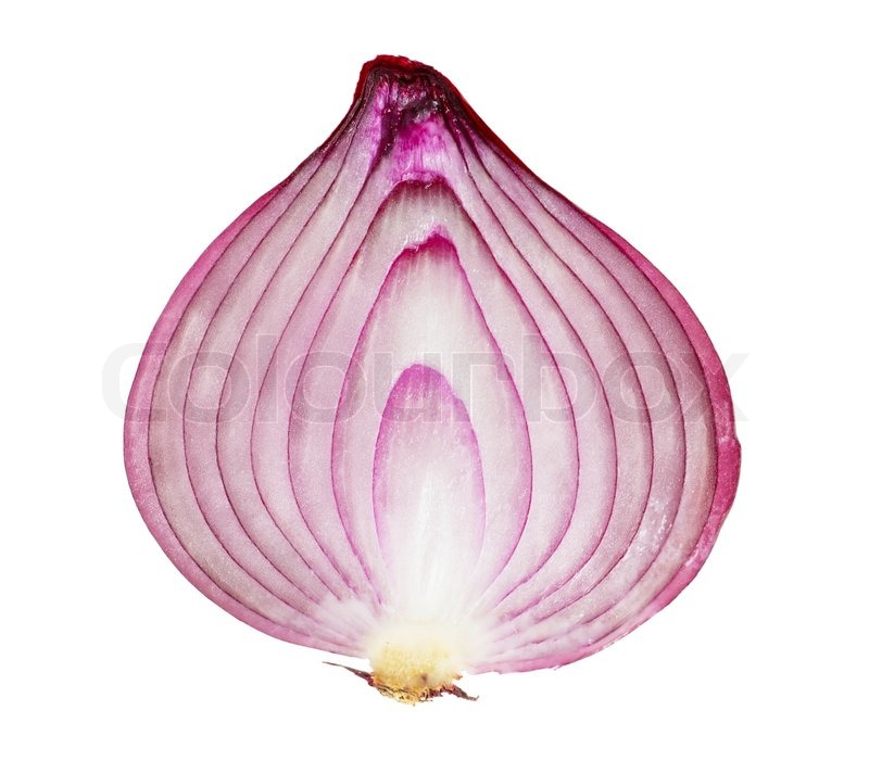 Stock image of 'A red onion, sliced in half, isolated on white background'