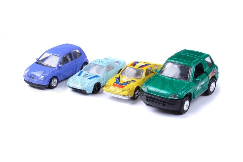 Car Toys Color : Color car toys on the white background stock photo