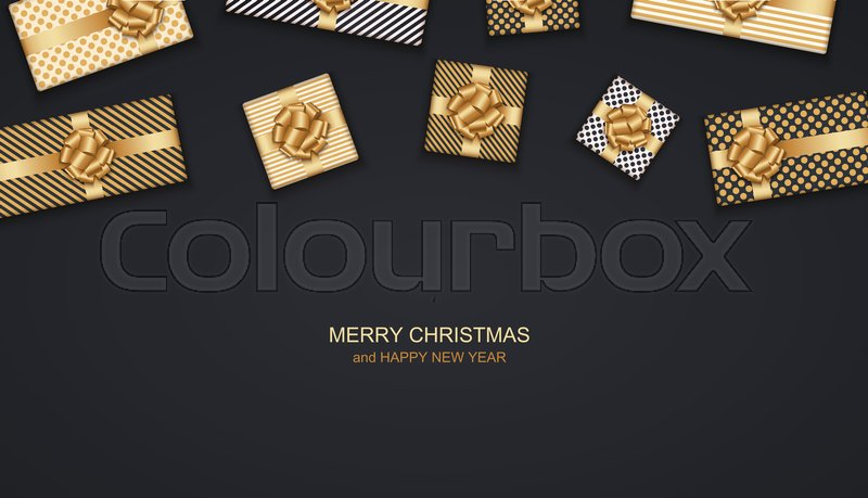 vector modern christmas or 2018 happy new year winter holiday invitation card background gift box postcard stock vector colourbox