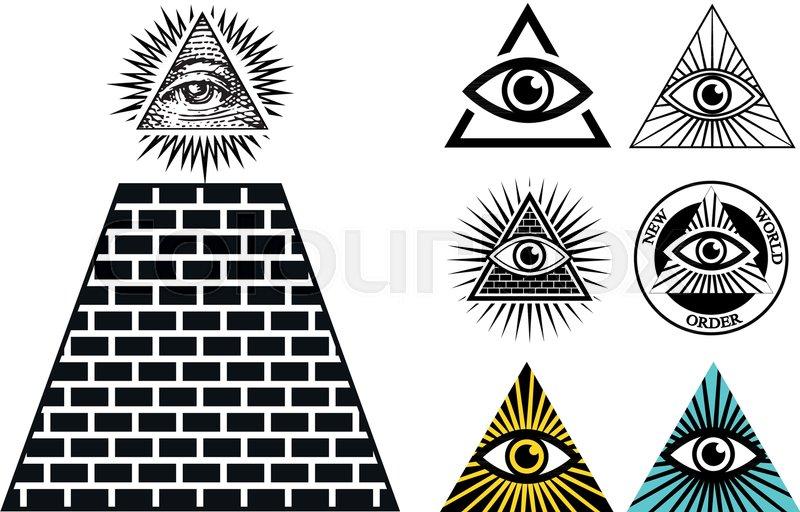 All Seeing Eye Icons Set Pyramid Illuminati Symbol Stock Vector