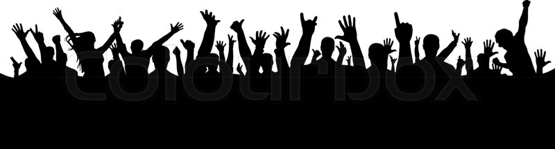 Hand Crowd Silhouette Stock Vector Colourbox Included 13 different male silhouettes. hand crowd silhouette stock vector