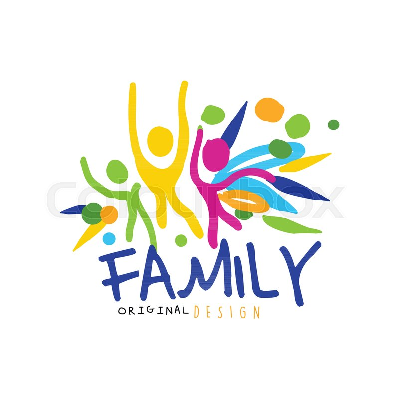 colorful happy family logo original design with abstract people