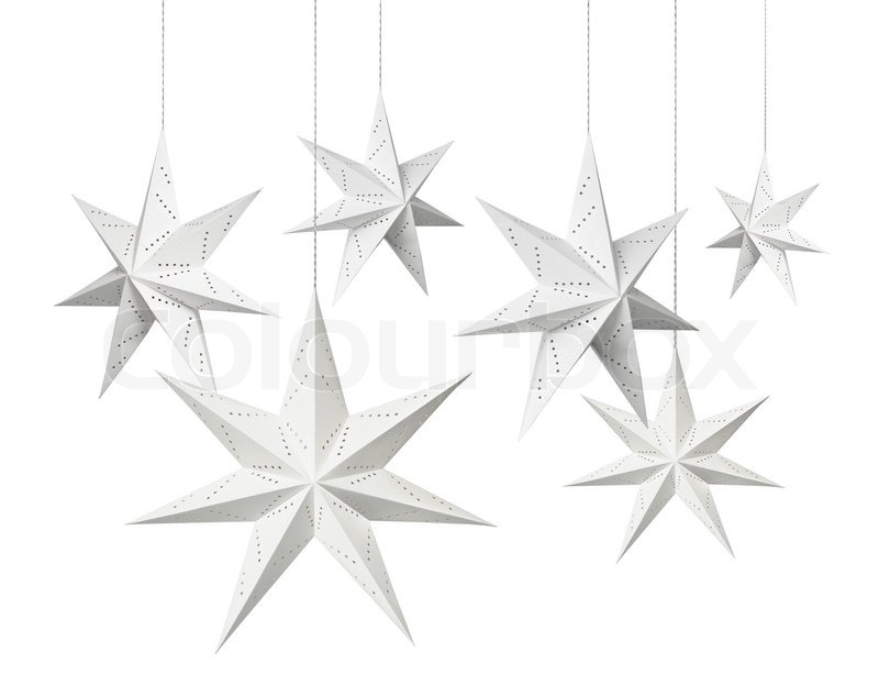 White Christmas decoration paper stars hanging isolated on ...