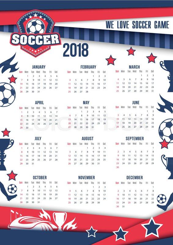 Soccer Sport Or Football Game 2018 Calendar Template Vector Design