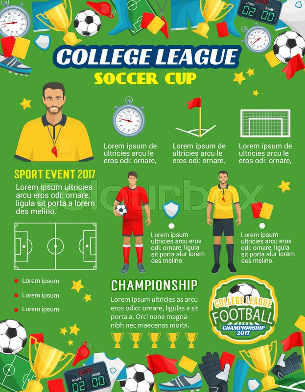 Soccer Cup Championship Or Football College League Tournament And Sport Game Poster Template Vector Design Of Ball Goal Score Table Referee