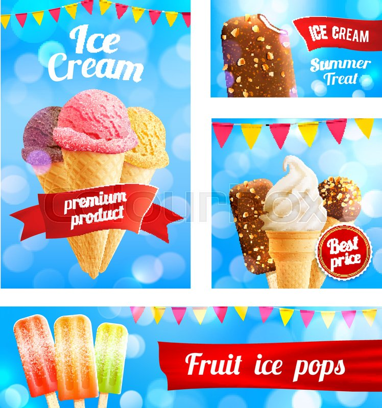 Ice cream cafe poster or advertising ... | Stock vector ...