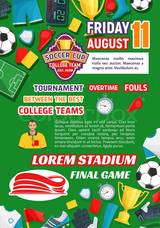 Soccer College League Tournament Event Or Announcement Poster
