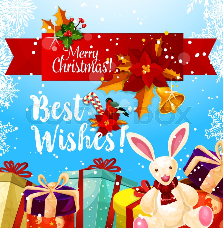 Merry christmas best wishes greeting card for winter holiday season merry christmas best wishes greeting card for winter holiday season vector santa present gifts with ribbon bows in snow christmas tree golden bell m4hsunfo