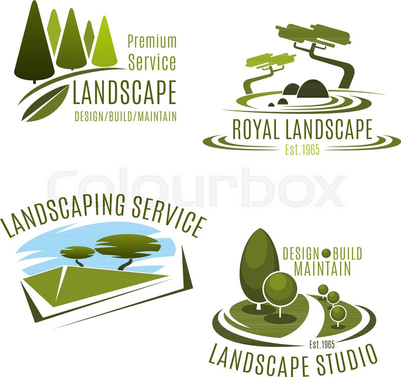 Green Landscape Design Service And Gardening Company Icons Templates.  Vector Symbols Set Of Green Nature Tress And Park Garden Or Woodland  Plantations For ...