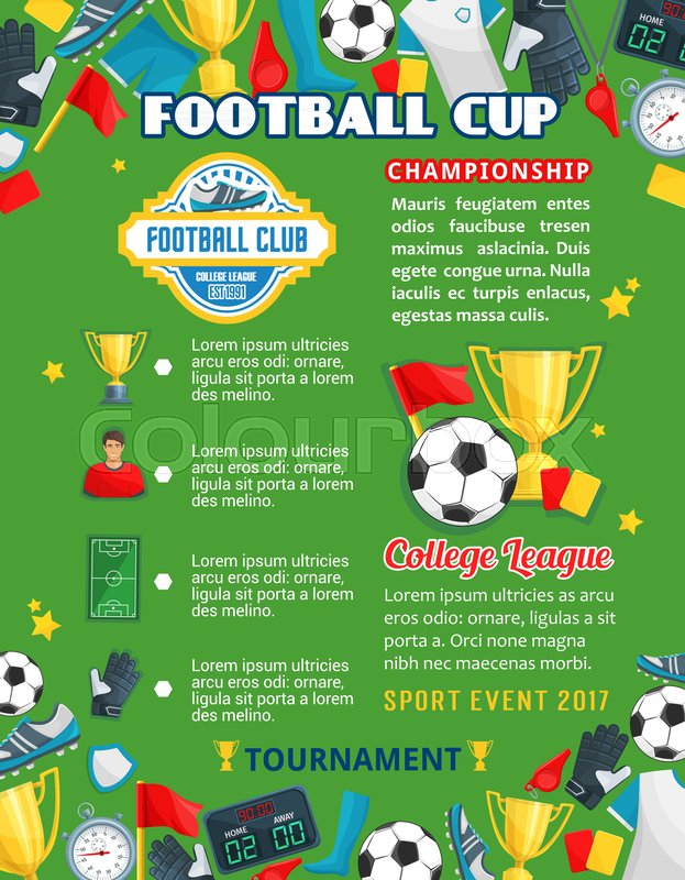 Football Cup Or College Team Soccer Sport Game Poster Template For University Competition Vector Design Of Ball On Playing Field Champion Winner