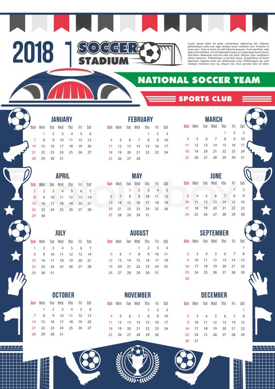 Soccer cup calendar 2018 template poster for football cup or sport