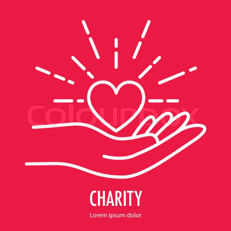 Heart In Hand Symbol Line Icon Logo Template For Charity And Donation Voluntary And Non Profit Organization Vector Illustration Isolated On Red