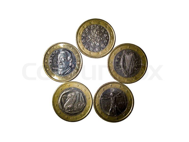 Euro Münze Die In Verschiedenen Bedingungen Und Modalitäten