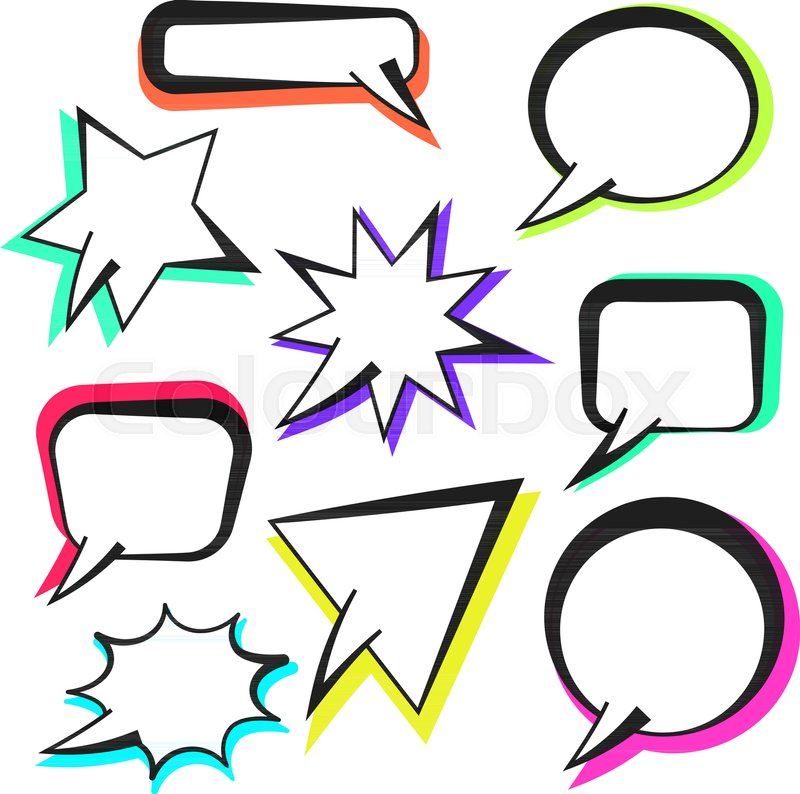 Vector Retro Comic Speech Bubbles With Colorful Shadow In Pop Art