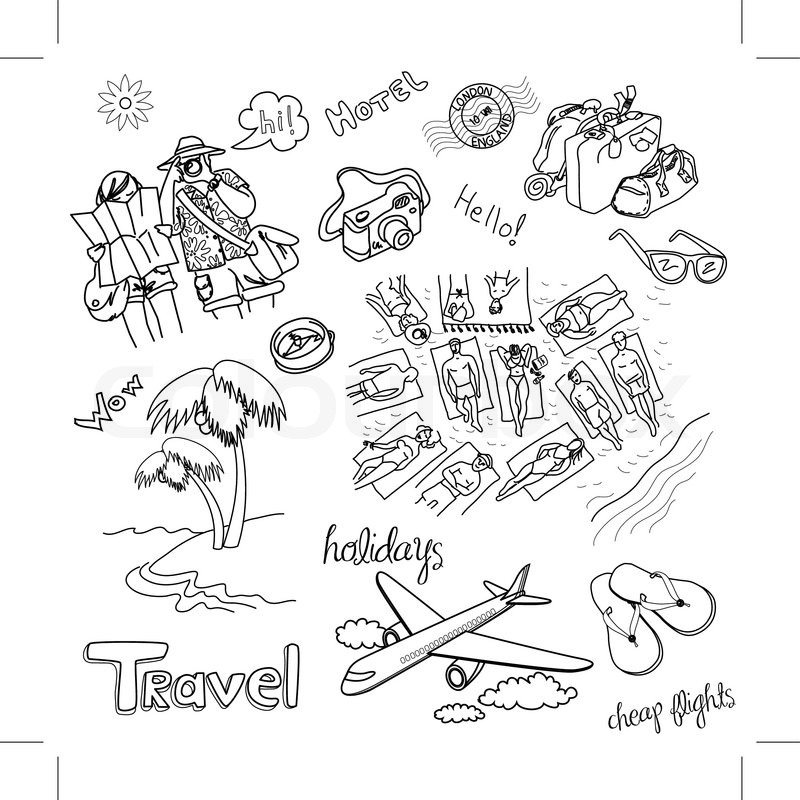 Summer Holidays Doodles Vector Illustration