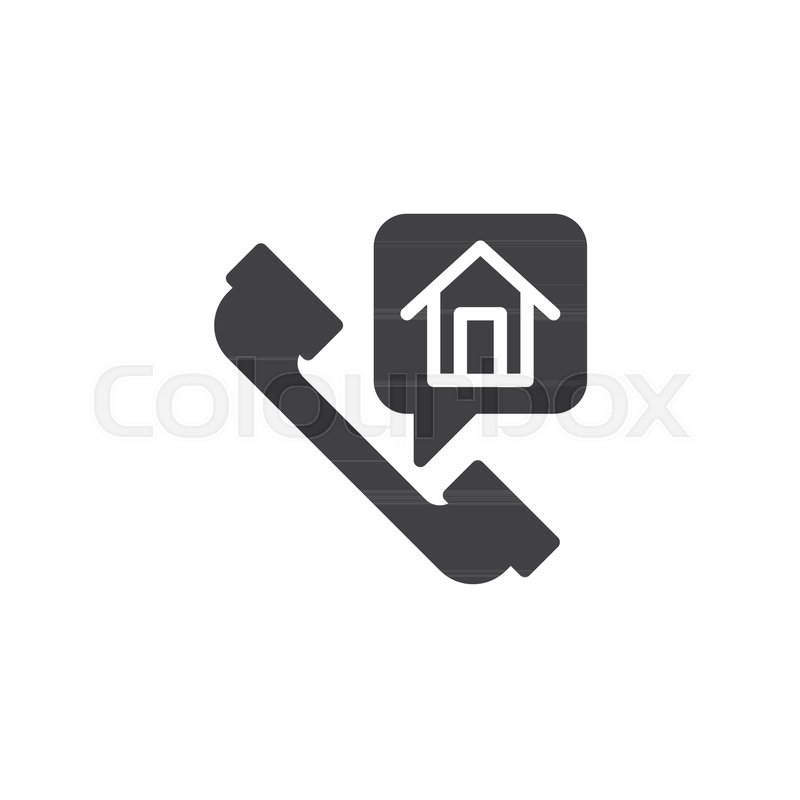 Home Phone Call Icon Vector Filled Flat Sign Solid Pictogram