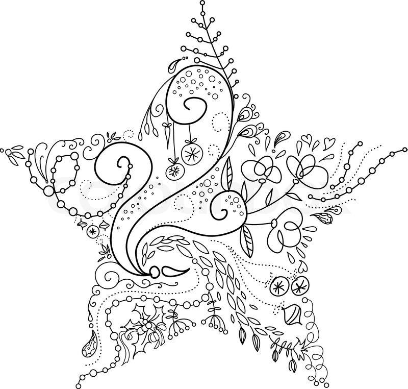 Line Art Xmas : Christmas star stock vector colourbox