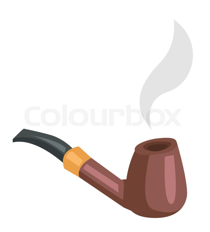 Tobacco Smoking Pipe With Smoke Vector Cartoon Illustration Isolated