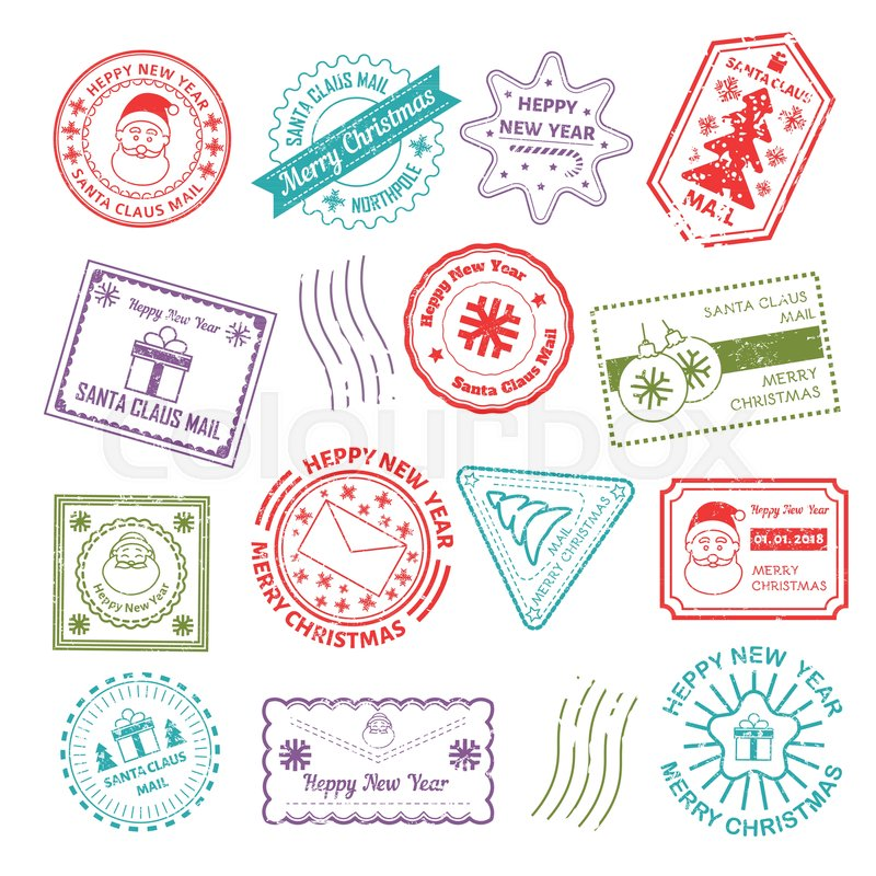 Christmas post mail stamps to santa address for christmas or new christmas post mail stamps to santa address for christmas or new year greeting card design template vector isolated rubber stamp ink print icons of tree m4hsunfo