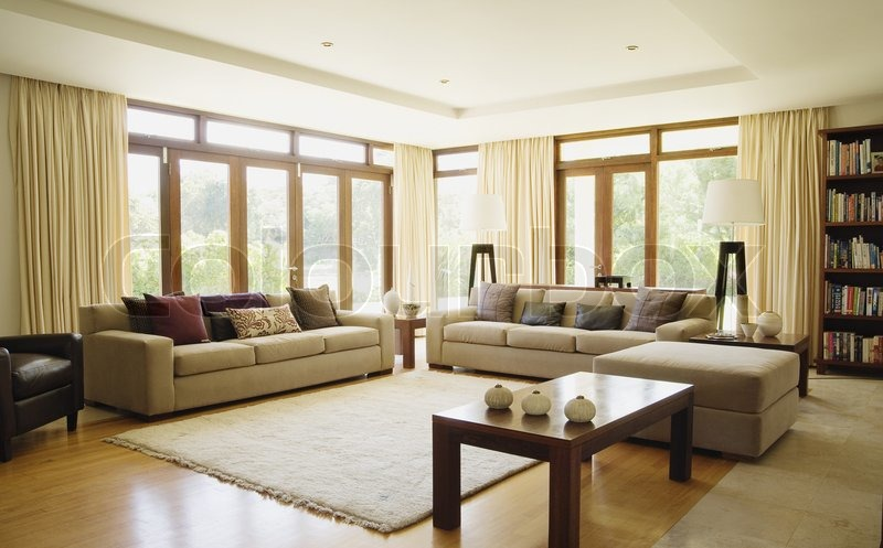 Empty living room with large windows can be as background stock