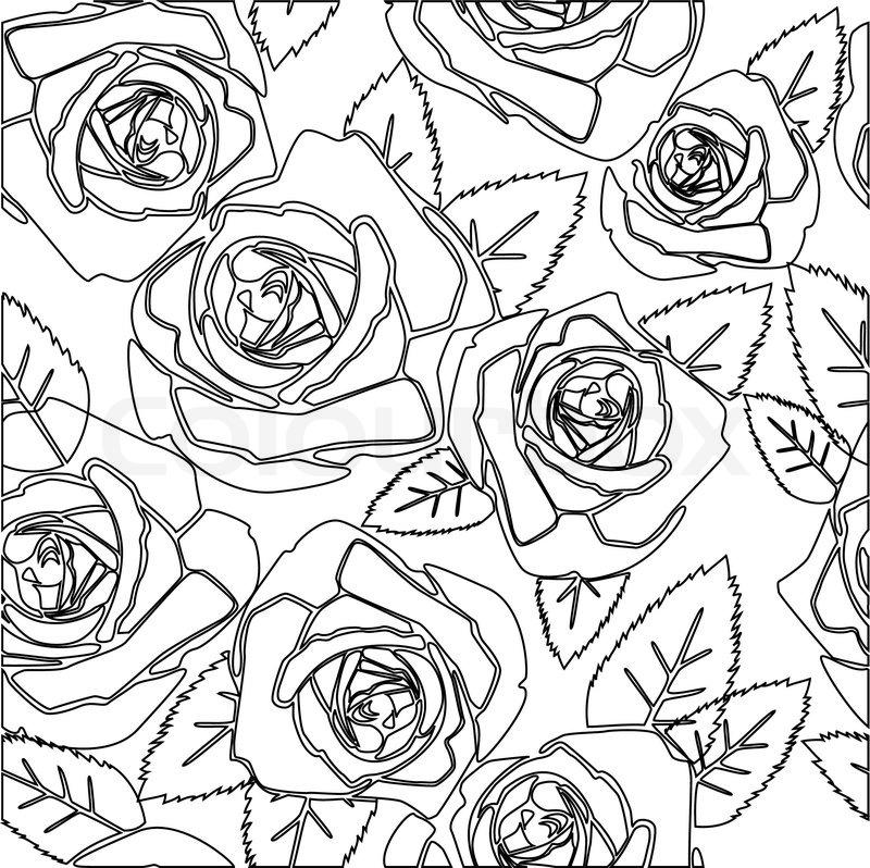 Line Art Design Background : Floral rose seamless pattern stock vector colourbox